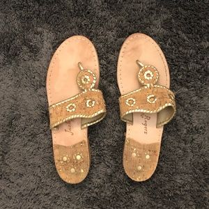 Jack Rogers Cork and Gold Sandals